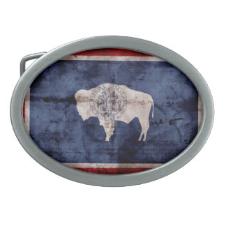 Weathered Wyoming Flag Belt Buckles