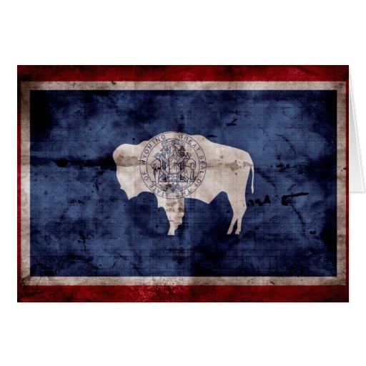 Weathered Wyoming Flag Greeting Card
