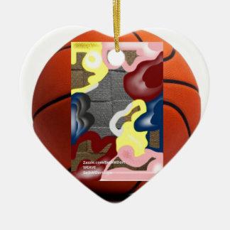 Weave Basketball Ceramic Heart Decoration