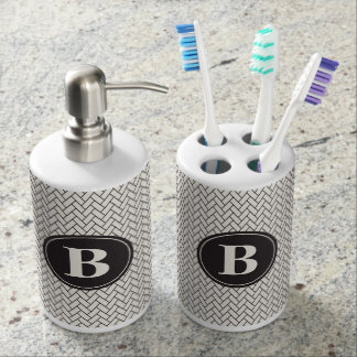Weave Pattern Monogram Bath Sets