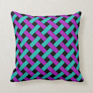 Weave/Wicker Pattern: Aqua, Purple and Black Cushion