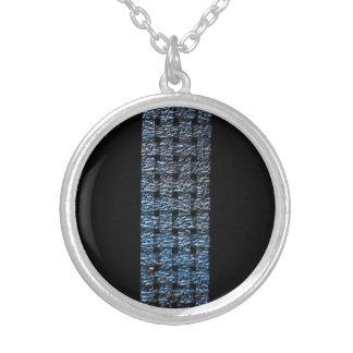 Weaved Blue Faux Foil Strip Design Silver Plated Necklace