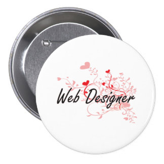 Web Designer Artistic Job Design with Hearts 7.5 Cm Round Badge
