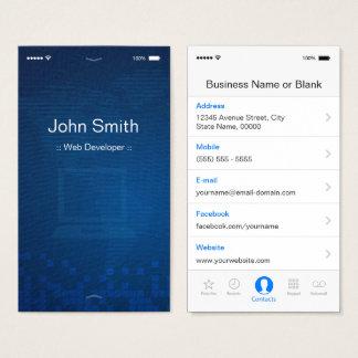 Web Developer - Apple iOS Customizable Flat Design Business Card