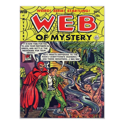 WEB OF MYSTERY Cool Vintage Comic Book Cover Art Print