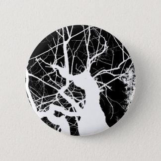 WEBBY TREE BLACK AND WHITE NEGATIVE 6 CM ROUND BADGE