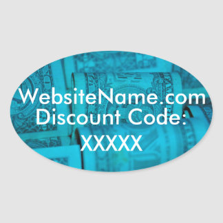 Website Promotion Design With Discount Code Option Oval Sticker