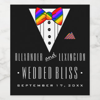 Wedded Bliss Tuxedo Rainbow Gay Wedding Wine Label