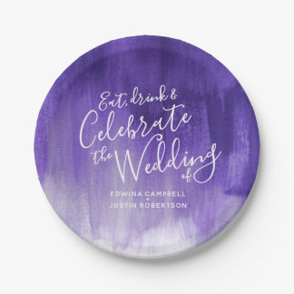 Wedding abstract ultraviolet purple paper plate