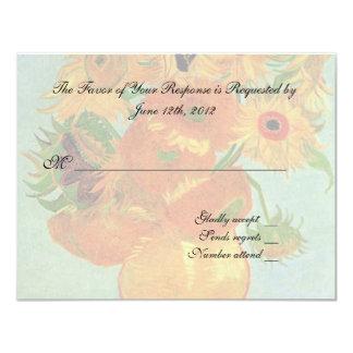 wedding acceptance card, van gogh sunflowers 11 cm x 14 cm invitation card