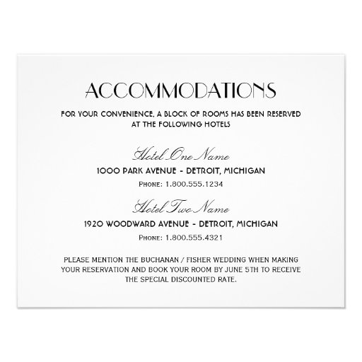 Accommodation Cards For Wedding Invitations: Art Deco Style 11 Cm X 14 Cm