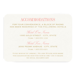 Wedding Accommodation Card | Coral and Gold Custom Invitation