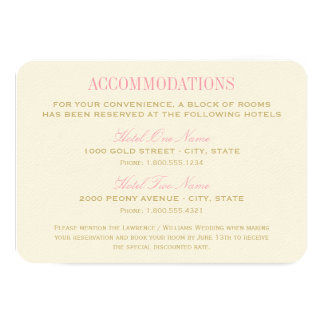 "Wedding Accommodation Card | Pink and Gold 3.5"" X 5"" Invitation Card"
