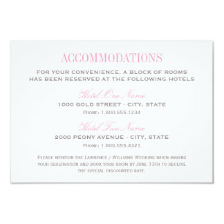 Wedding Accommodation Card | Pink and Gray 9 Cm X 13 Cm Invitation Card
