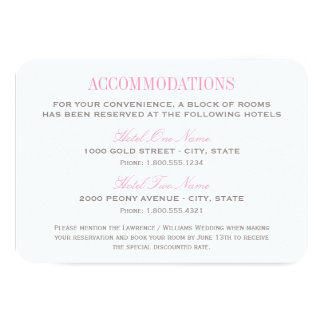 "Wedding Accommodation Card | Pink and Gray 3.5"" X 5"" Invitation Card"