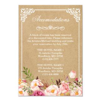Wedding Accommodations Vintage Rustic Floral Kraft 9 Cm X 13 Cm Invitation Card