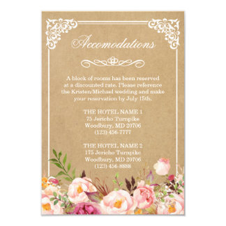 Wedding Accommodations Vintage Rustic Floral Kraft Card
