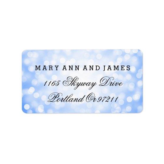 Wedding Address Blue Glitter Lights Address Label