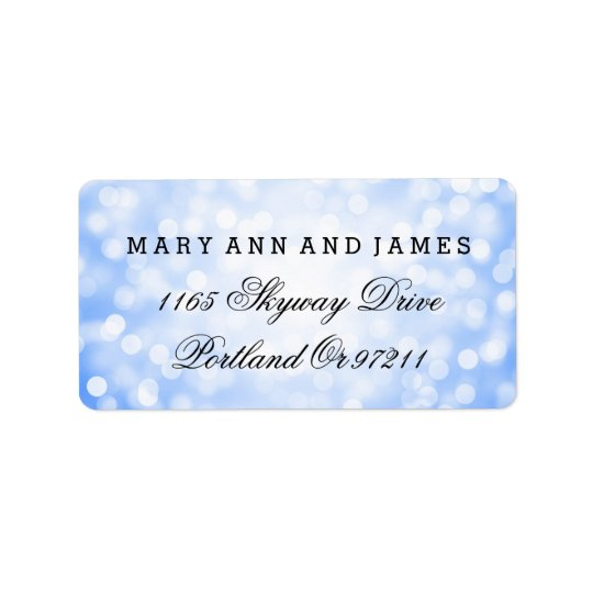 Wedding Address Blue Glitter Lights Label