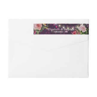 Wedding Address Elegant Floral Purple String Light Wrap Around Label