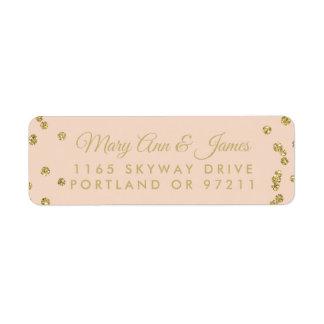 Wedding Address Gold Faux Glitter Confetti Blush Return Address Label