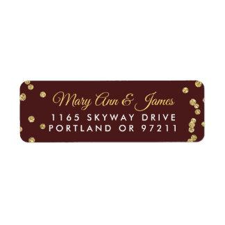 Wedding Address Gold Faux Glitter Confetti Marsala Return Address Label
