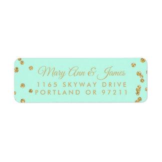 Wedding Address Gold Faux Glitter Confetti Mint Return Address Label