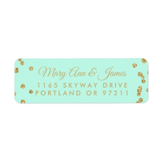 Wedding Address Gold Faux Glitter Confetti Mint Return Address Label