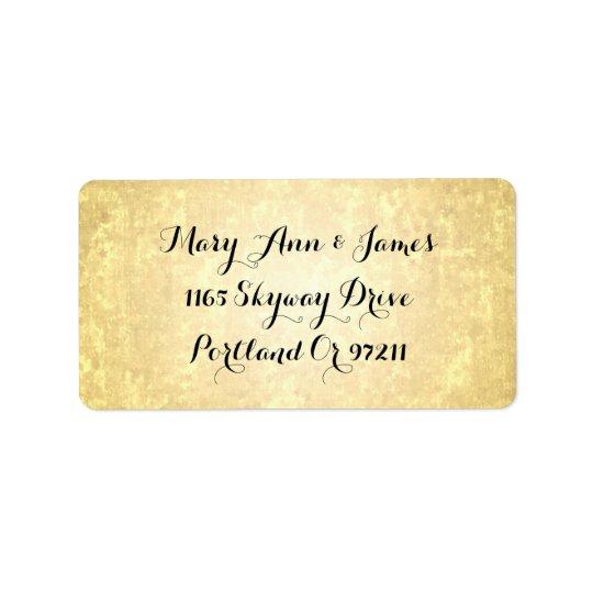 Wedding Address Gold Foil Look Stars Confetti Label