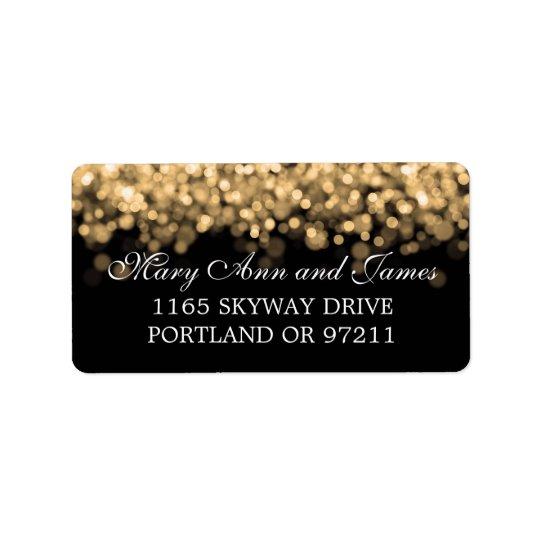 Wedding Address Gold Lights Label