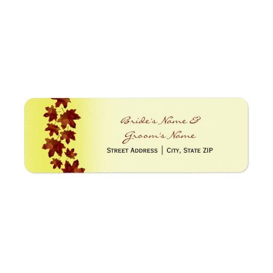 Wedding Address Label - Fall Wedding Leaves