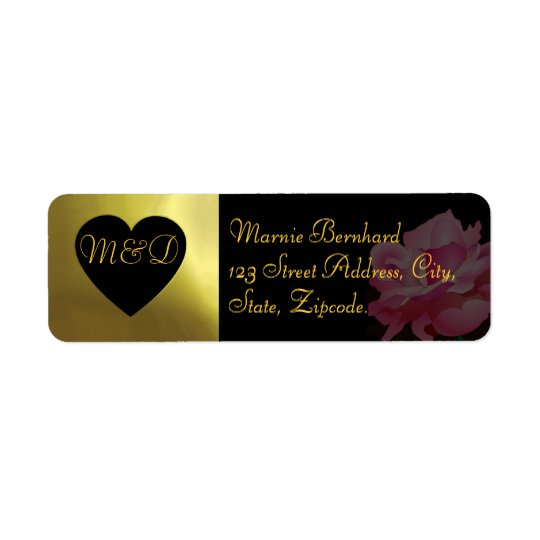 Wedding Address Label |  Flower Collection black