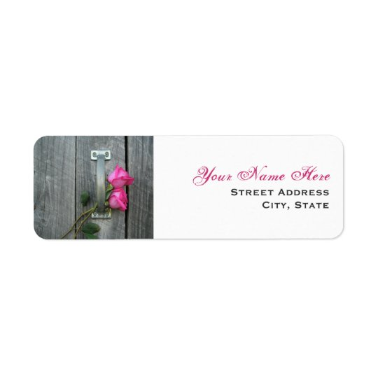 Wedding Address Label - Hot Pink Roses & Barn Door