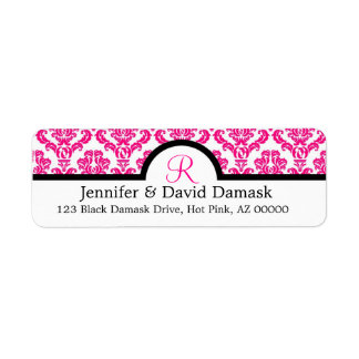 Wedding Address Labels Damask Monogram