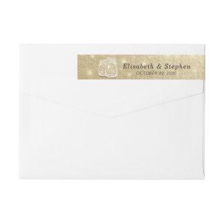 Wedding Address Mason Jar String Lights Gold Foil Wrap Around Label