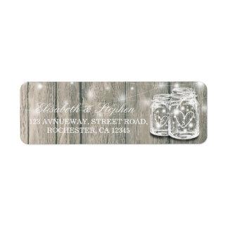 Wedding Address Rustic Wood Mason Jar String Light Return Address Label