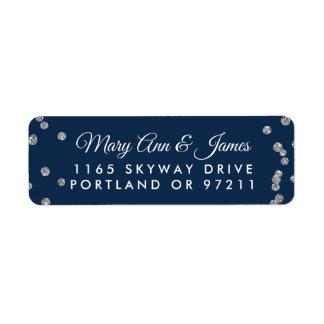Wedding Address Silver Faux Glitter Confetti Navy Return Address Label