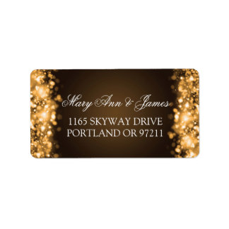 Wedding Address Sparkling Lights Gold Address Label