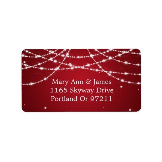 Wedding Address Sparkling String Red Address Label