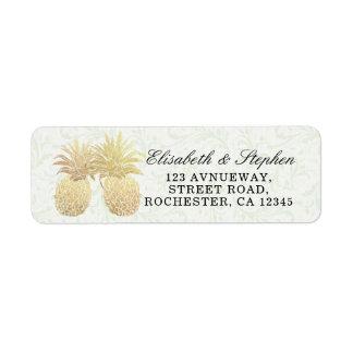 Wedding Address Vintage Gold Foil Pineapple Couple Return Address Label