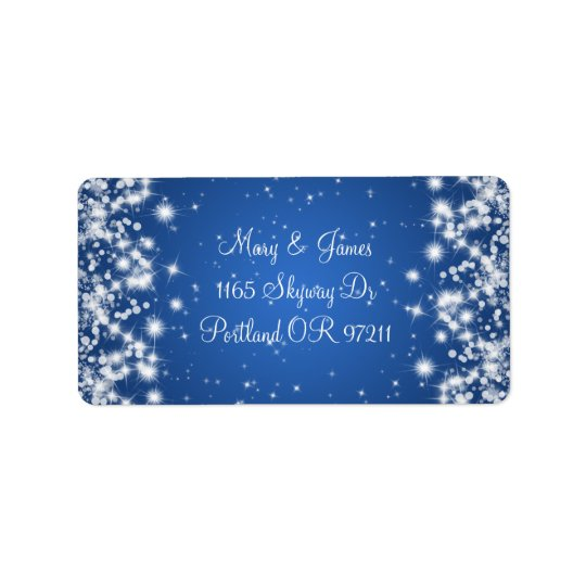 Wedding Address Winter Sparkle Royal Blue Address Label