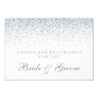 Wedding Advice Card Elegant Silver Confetti