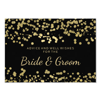 Wedding Advice Card Gold Foil Look Confetti