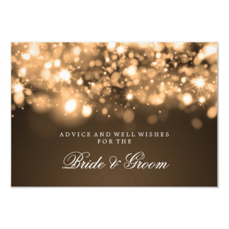 Wedding Advice Card Gold Sparkling Lights