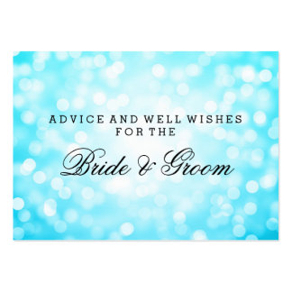 Wedding Advice Card Turquoise Glitter Lights Business Cards