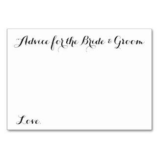 Wedding Advice Cards Advice for the Bride & Groom Table Card