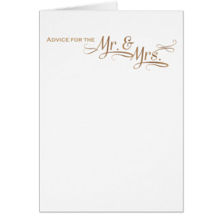Wedding Advice for the Mr and Mrs gold font Card