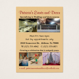 Wedding and Quinceanera decorator Business Card