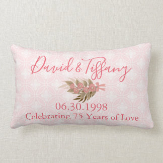 Wedding Anniversary 75 Year Pink Lumbar Cushion