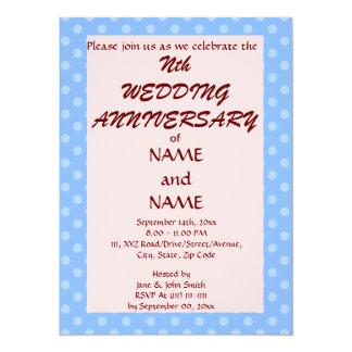 Wedding Anniversary-Blue PolkaDots,Pink Background 5.5x7.5 Paper Invitation Card